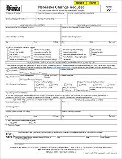 Form 22 Nebraska Change Request