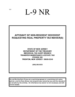 Form IT-L-9-NR Non-Resident Decedent Affidavit Requesting Real ...