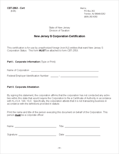 Form CBT-2553 S Corporation Election