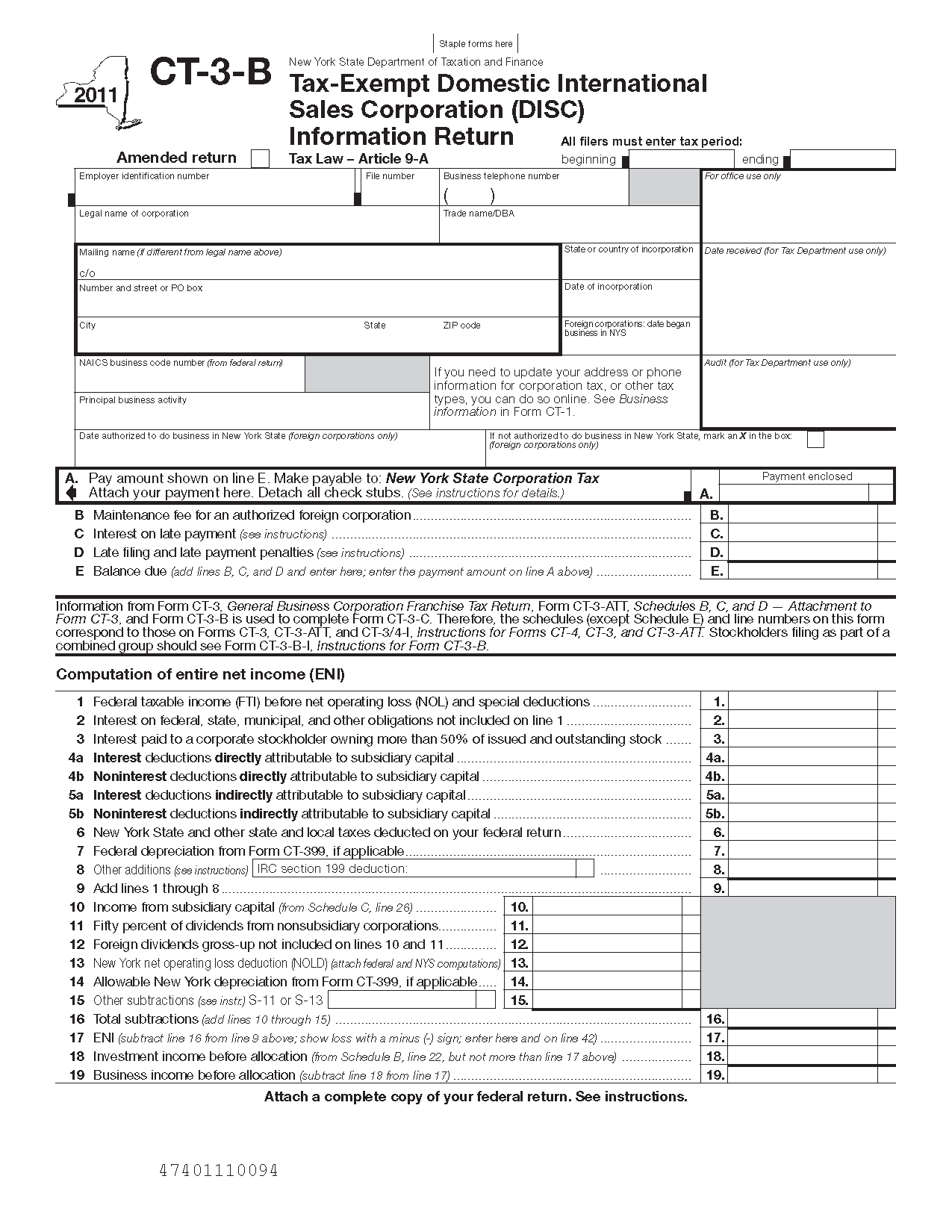 Form CT-3-B Tax Exempt Domestic International Sales Corporation ...