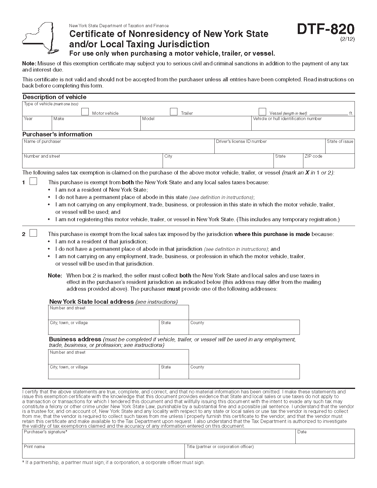 Nys motor vehicle forms for Dr2173 motor vehicle bill of sale