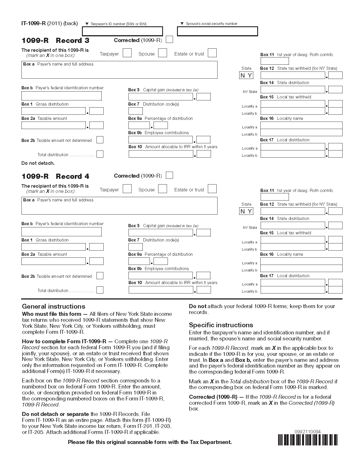 1099 form nys  Form IT-12-R (Fill-in) Summary of Federal Form 12-R ...