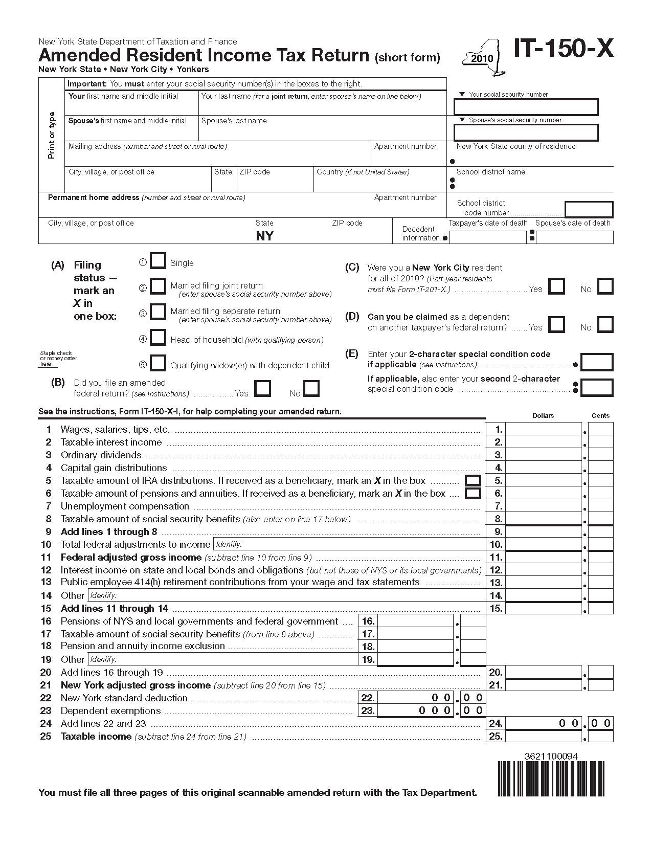 Form IT-150-X (2010) (Fill-in) Amended Resident Income Tax Return ...