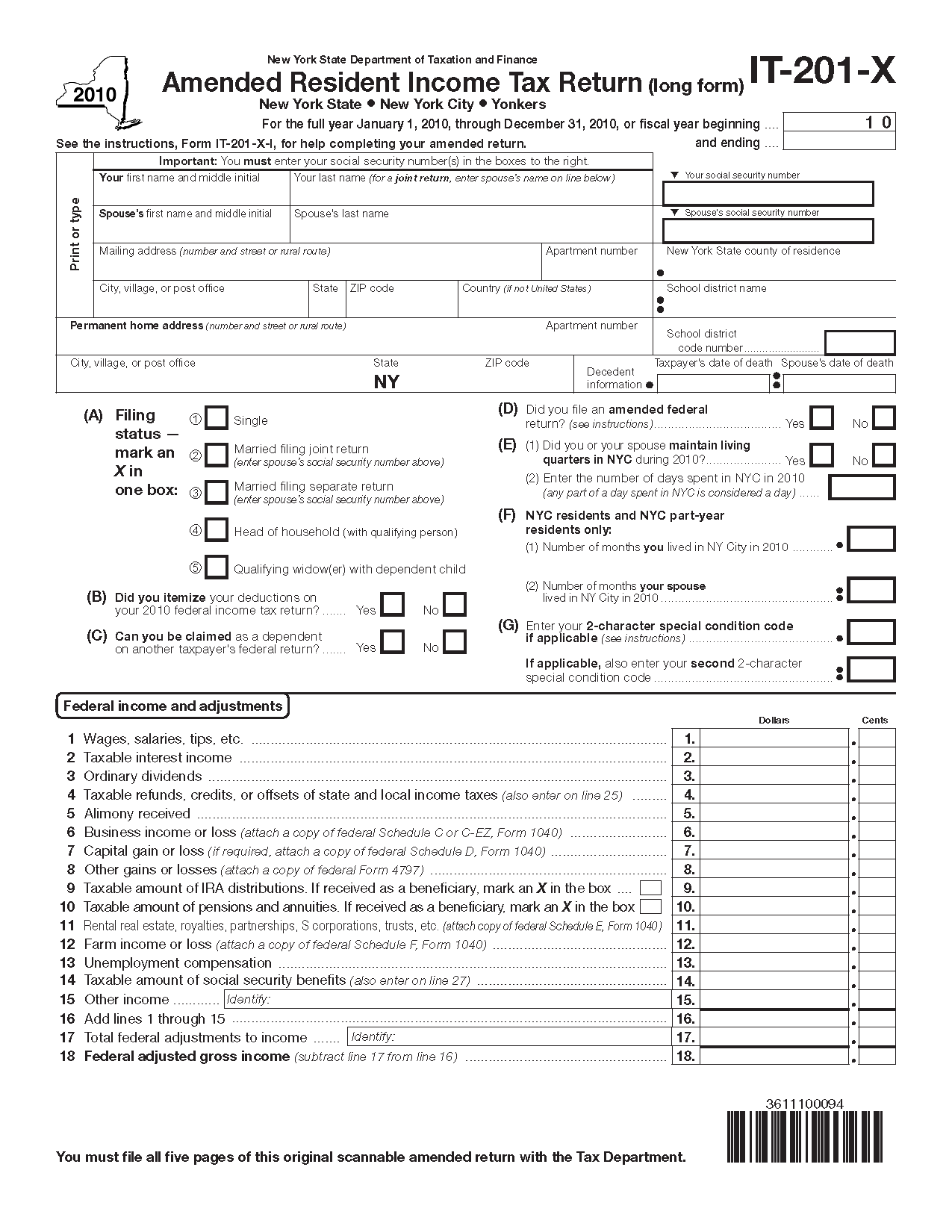 Form IT201X 2010 Fillin Amended Resident Income Tax Return – Standard Deduction Worksheet