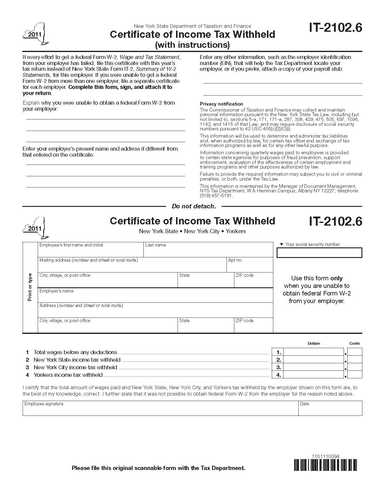 Form IT-2102.6 (Fill-in) Certificate Of Income Tax Withheld