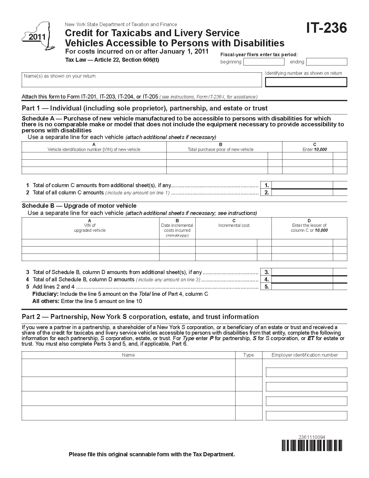 Form It 236 Fill In Credit For Taxicabs And Livery Service