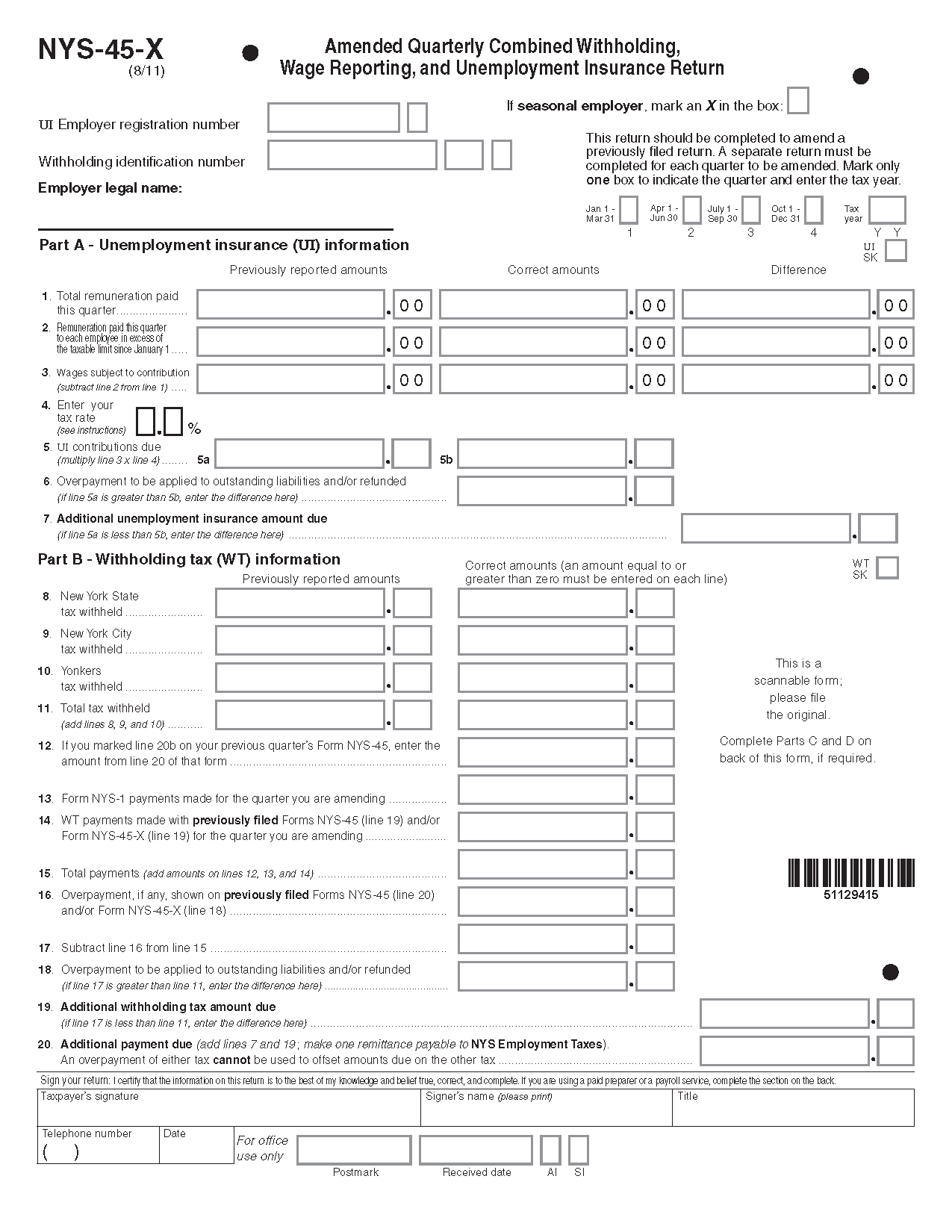 Form NYS-45-X (Fill-in) Amended Quarterly Combined Withholding ...