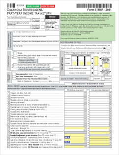 511NR Form 2-D Individual Nonresident/Part-Year Income Tax Return