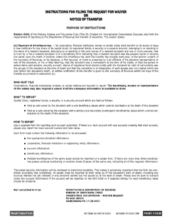 Form REV-516 Request for Waiver or Notice of Transfer