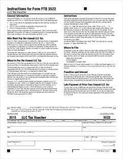 Form 3522-2013 Limited Liability Company Tax Voucher