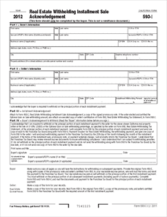 Real Estate Forms on Form 593i Real Estate Withholding Installment Sale Acknowledgment