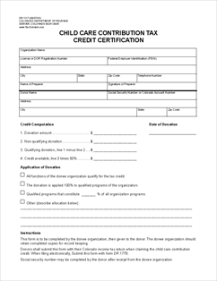 Form DR-1317 Child Care Contribution Tax Credit Certification