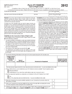 Form CT-1040CRC Claim of Right Credit