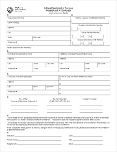 power of attorney form indiana Form POA-1 Power of Attorney
