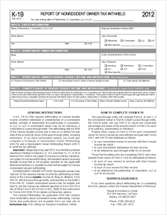 Form K-19 Report of Nonresident Owner Tax Withheld