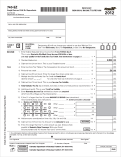 Form 740-EZ Kentucky Individual Income Tax Return