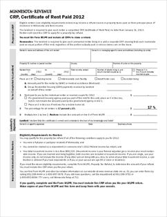 Form CRP 2012 Certificate of Rent Paid (for landlord use only)