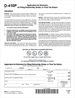 Form D-410P Application for Extension for Filing Partnership ...