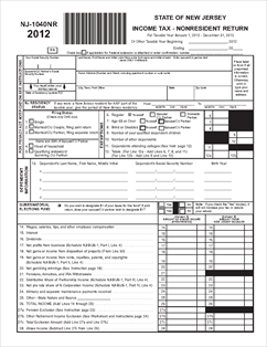 Form NJ-1040NR Non-Resident Income Tax Return