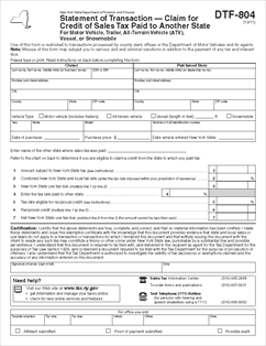 form dtf 804 statement of transaction claim for credit of sales tax paid to another state. Black Bedroom Furniture Sets. Home Design Ideas