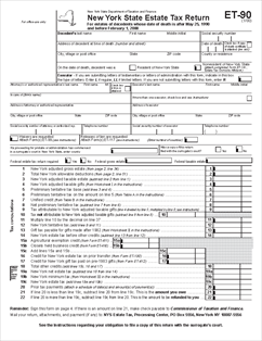 Form ET-90 New York State Estate Tax Return; For the estate of a ...