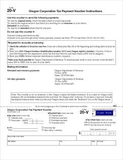 Form 20-V Oregon Corporation Tax Payment Voucher and Instructions