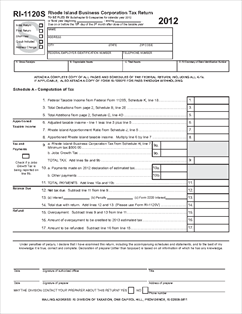 Form 1120S CYE 2012 RI-1120S Return for S Corps and LLCs