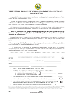 Form IT-104 West Virginia Employee's Withholding Exemption Certificate