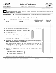 Form 8917 Fillable Tuition and Fees Deduction