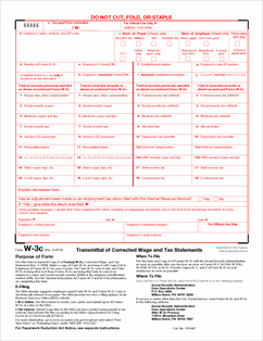 Form W-3C Fillable Transmittal of Corrected Wage and Tax Statements ...