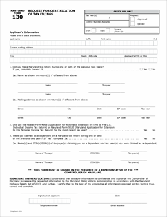 Form 130 Fillable Request for Certification of Tax Filings