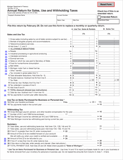 Form 165 Fillable Annual Return for Sales, Use and Withholding Taxes