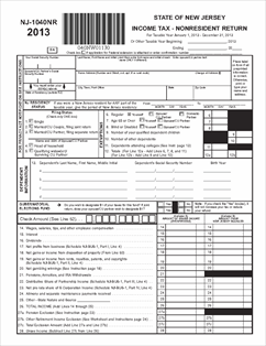 Form NJ-1040NR Fillable Non-Resident Income Tax Return