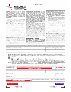 Form REV-419 Fillable Employee's Nonwithholding Application ...
