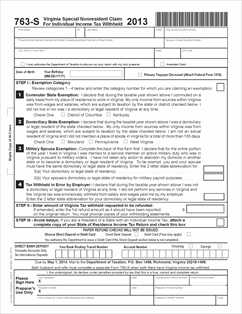 Form 763S Fillable 763S - Claim for Individual Income Tax Withheld