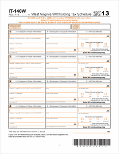 Form IT140W Fillable IT-140W Withholding Tax Schedule: