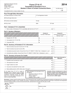 Form CT-K-1T Fillable 2014 Transmittal of Schedule CT-K-1 ...