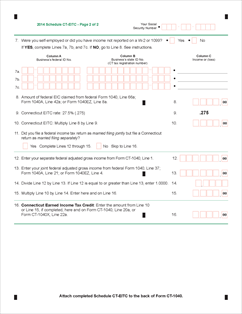 Form CT-EITC Fillable 2014 Connecticut Earned Income Tax Credit