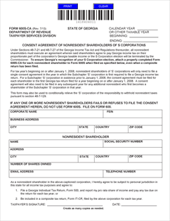 Form 600 S-CA Fillable Consent agreement