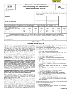 Form N-196 Fillable Annual Summary and Transmittal of Hawaii ...