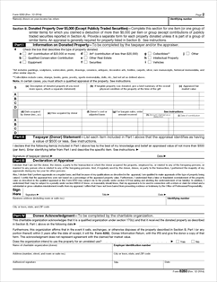 Form 8283 Fillable Noncash Charitable Contributions