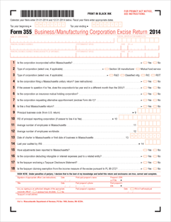 Form 355 Fillable Massachusetts Business or Manufacturing ...