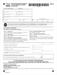 Form 502E Fillable Maryland Application for Extension of Time to ...
