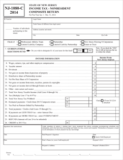 Form NJ-1080C Fillable Nonresident Composite Return and Schedules ...