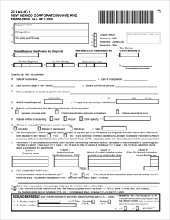 Form CIT-1 Fillable NM Corporate Income & Franchise Tax Return