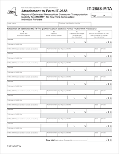 Form IT-2658-MTA (2015) Fillable Attachment to Form IT-2658 Report ...