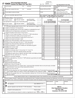 Form IT 1040X Fillable Ohio Amended Individual Income Tax Return