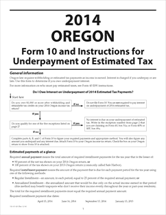 Form 10 Fillable Underpayment of 2014 Oregon Estimated Tax