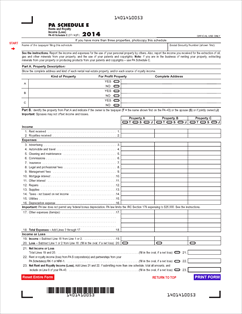 Form PA-40 E Fillable 2014 PA Schedule E - Rents and Royalty Income