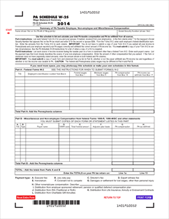 form pa 40 w 2s fillable 2014 pa schedule w 2s wage statement summary. Black Bedroom Furniture Sets. Home Design Ideas